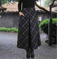 Womens Winter/Autumn Woolen Plaids/Check Retro A-Line Long Maxi Full Skirt