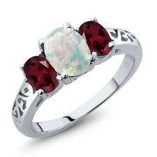 2.05 Ct Oval White Simulated Opal Red Rhodolite Garnet 925 Sterling Silver Ring