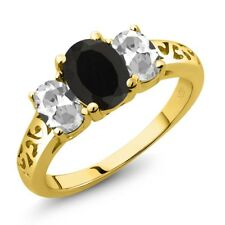 2.25 Ct Oval Black Onyx White Topaz 14K Yellow Gold Ring