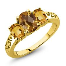 1.95 Ct Oval Checkerboard Champagne Quartz Yellow Citrine 14K Yellow Gold Ring