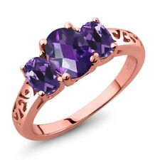 1.70 Ct Oval Checkerboard Purple Amethyst 18K Rose Gold Plated Silver Ring