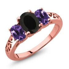 1.95 Ct Oval Black Onyx Purple Amethyst 18K Rose Gold Plated Silver Ring
