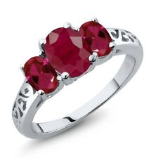 2.60 Ct Oval Red Ruby Red Created Ruby 14K White Gold Ring