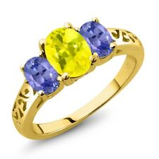 2.20 Ct Oval Canary Mystic Topaz Blue Tanzanite 14K Yellow Gold Ring