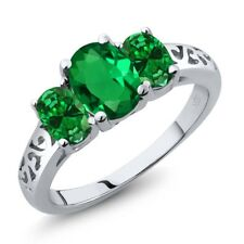 1.70 Ct Oval Green Simulated Emerald Green Simulated Emerald 18K White Gold Ring