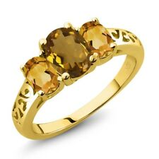 1.80 Ct Oval Whiskey Quartz Yellow Citrine 18K Yellow Gold Plated Silver Ring