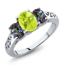 2.10 Ct Oval Yellow Lemon Quartz Green Mystic Topaz 14K White Gold Ring