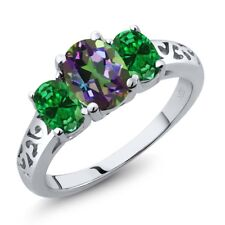 2.00 Ct Oval Green Mystic Topaz Green Simulated Emerald 925 Sterling Silver Ring