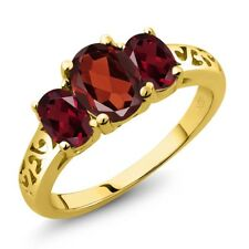 2.20 Ct Oval Red Garnet Red Rhodolite Garnet 18K Yellow Gold Plated Silver Ring