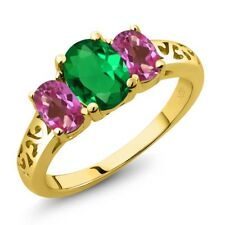 2.00 Ct Oval Green Simulated Emerald Pink Mystic Topaz 18K Yellow Gold Ring