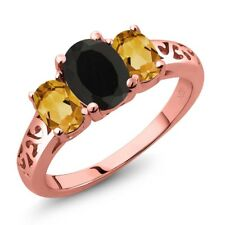 2.05 Ct Oval Black Onyx Yellow Citrine 18K Rose Gold Plated Silver Ring