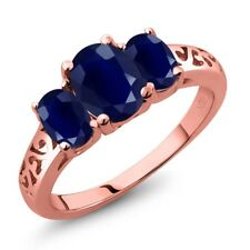 2.89 Ct Oval Blue Sapphire 18K Rose Gold Plated Silver Ring
