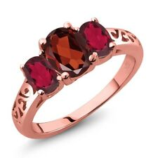 2.20 Ct Oval Red Garnet Red Mystic Topaz 18K Rose Gold Plated Silver Ring