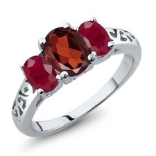2.40 Ct Oval Red Garnet Red Ruby 18K White Gold Ring