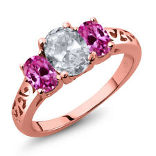 2.30 Ct Oval White Topaz Pink Created Sapphire 18K Rose Gold Plated Silver Ring