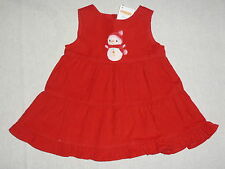 Gymboree COZY CUTIE Red Snowman Tiered Ruffled Corduroy Jumper Holiday Dress 2T