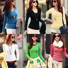 Vogue Women's Casual Round Collar T-Shirt Trendy Cotton Long Sleeve Tops Blouse