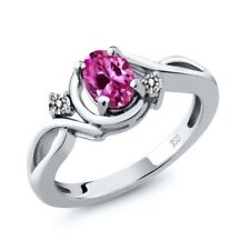 0.97 Ct Oval Pink Created Sapphire White Diamond 14K White Gold Ring