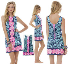 $198 Lilly Pulitzer Delia Bright Navy Fountain Hopping Engineered Shift Dress 8