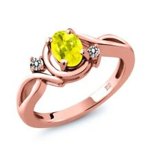 0.87 Ct Oval Canary Mystic Topaz White Diamond 18K Rose Gold Plated Silver Ring