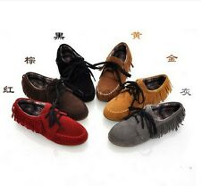 Womens Vogue Casual Comfort Round Toe Pretty Fringe Lace up Tassels Flats Shoes