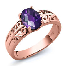 1.00 Ct Oval Checkerboard Purple Amethyst 18K Rose Gold Ring