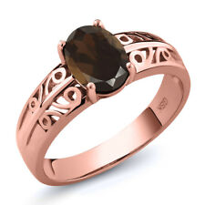 1.20 Ct Oval Brown Smoky Quartz 18K Rose Gold Plated Silver Ring