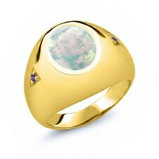 4.08 Ct Oval White Simulated Opal Purple Amethyst 14K Yellow Gold Men's Ring