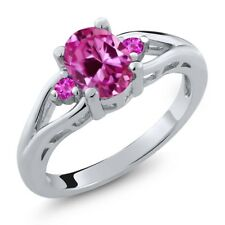 1.75 Ct Oval Pink Created Sapphire Pink Sapphire 925 Sterling Silver Ring