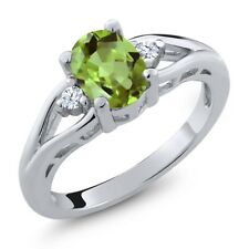 1.41 Ct Oval Green Peridot White Topaz 925 Sterling Silver Ring