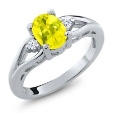 1.38 Ct Oval Canary Mystic Topaz White Created Sapphire 925 Sterling Silver Ring