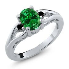 2.17 Ct Oval Green Simulated Emerald Black Diamond 925 Sterling Silver Ring