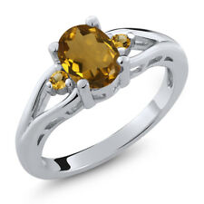 1.07 Ct Oval Whiskey Quartz Yellow Simulated Citrine 925 Sterling Silver Ring