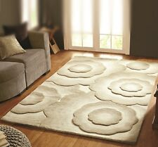 Natural Beige Hand Carved Embossed Simple Floral Thick Quality Dense Wool Rug