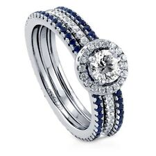 Sterling Silver 1.3 ct.tw Round Cubic Zirconia CZ Halo Fashion Stackable Ring S