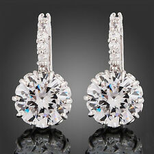 New Women's 18k White Gold Gp Clear Rhinestone Crystal Zircon Cz Earrings 1 Pair