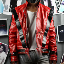 Michael Jackson Red Thriller Leahter jacket Free Billie Jean Gift