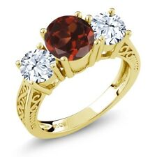 2.30 Ct Round Red Garnet White Topaz 18K Yellow Gold Plated Silver 3-Stone Ring