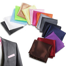 Men Satin Solid Plain Color Handkerchief Hanky Pocket Square Wedding Suit Party