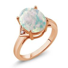 4.02 Ct Oval White Simulated Opal White Topaz 18K Rose Gold Plated Silver Ring