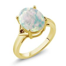 4.02 Ct Oval Cabochon White Simulated Opal Red Garnet 14K Yellow Gold Ring