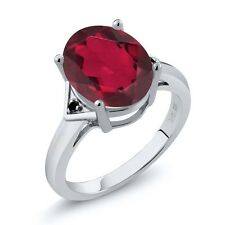 4.01 Ct Oval Ruby Red Mystic Quartz Black Diamond 18K White Gold Ring