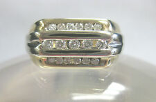 14K SOLID TWO TONE GOLD & DIAMONDS MENS RING SIZE 10