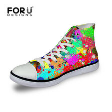 Colorful Cool Women Ladies Canvas Shoes High Top Lace Up Sneakers Girls Shoes