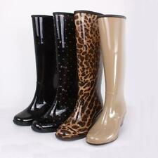 Fashion Womens Rain Boots Rubber Waterproof Ladies Wellies Mid-Calf boots Size