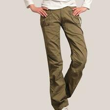 2016 New Womens Pocket Cotton blend Casual Combat Pants Army Cargo Trousers Size