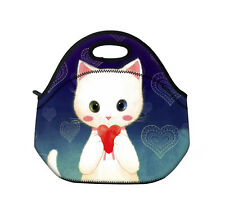 X'mas Gift Heart&Cat Handbag Insulated Tote Lunch Bag Cool Bag Cooler Box Case
