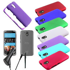 For HTC Desire 526 Protective Shield Hard Snap On Cover Case CAR CHARGER STYLUS