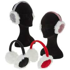 New Cable Knit & Fur Ladies Ear Muffs Black Pink Red & Grey