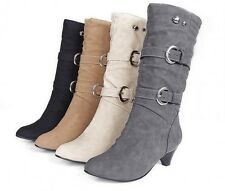 Women Ladies Faux Suede Boho Mid Calf High Heel Wedge Boots Shoes US4.5-10